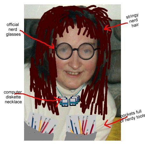 Enhanced picture of the female computer nerd herself
